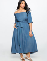ELOQUII Plus Size Off the Shoulder Chambray Dress