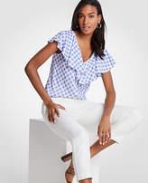 Ann Taylor Diagonal Check Ruffle V-Neck Top