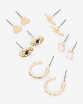 Express Set Of Five Mixed Shape Gold Post Back Earrings