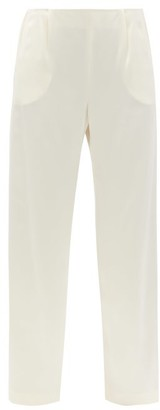 LA COLLECTION Calypso High-rise Silk Wide-leg Trousers - Ivory
