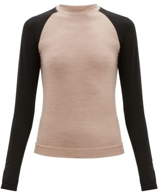Ernest Leoty Albane Long-sleeved Merino Wool-blend Top - Black Beige
