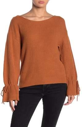 Lumiere Scoop Neck Tie Cuff Sweater