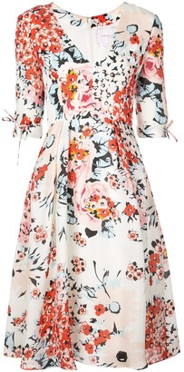Carolina Herrera Floral Print Flared Dress