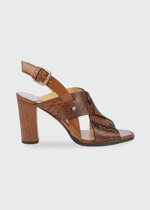 Jimmy Choo 85mm Snake-Printed Wooden Block-Heel Sandals