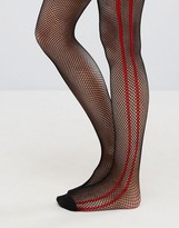 Asos Fishnet Tights In Black With Red Side Stripe