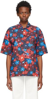 Marni Multicolor Poplin Floral Short Sleeve Shirt