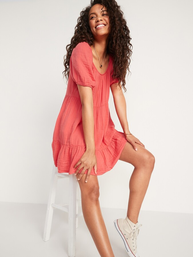 Thumbnail for your product : Old Navy Tiered Puff-Sleeve Swing Dress for Women