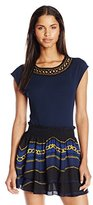 Juicy Couture Black Label Women's Cap Sleeve Chain Embroidered Tee