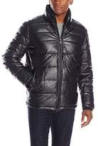 Tommy Hilfiger Men's Faux Leather Quilted Puffer Jacket