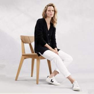 The White Company Cable Boyfriend Cardigan with Wool , Black, Small