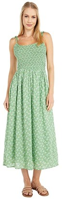 Lucky Brand Printed Penny Dress (Green Multi) Women's Clothing