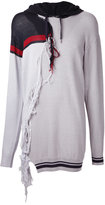 Miharayasuhiro tassel trim longline hoodie - men - Cotton/Acrylic - 46