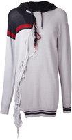 Miharayasuhiro tassel trim longline hoodie - men - Cotton/Acrylic - 48