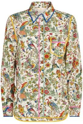 Tory Burch Floral Print Silk Shirt