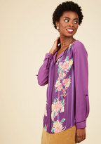 Podcast Co-Host Top in Purple Floral in XS