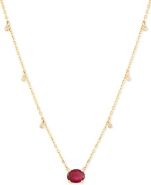 "Macy's Certified Ruby (1-5/8 ct.t.w.) & Diamond Accent 16-1/2"" Pendant Necklace in 14k Gold (Also Available In Emerald)"
