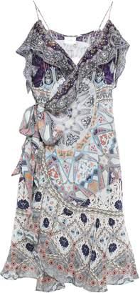 Camilla Tales Of Tatiana Crystal-embellished Silk Crepe De Chine Mini Wrap Dress