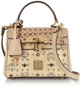 MCM Beige Diamond Visetos Mini Satchel Bag