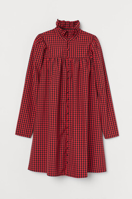 H&M Ruffled-collar Dress - Red