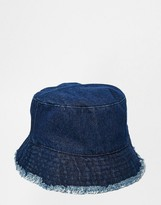 Asos Bucket Hat In Denim With Raw Edge