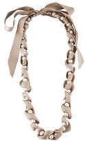 Lanvin Silk Ribbon Pearl Strand Necklace