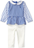 Ralph Lauren Bengal-Striped Shirt & Denim Leggings Set, Baby Girls (0-24 months)