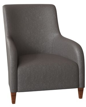 "Bernhardt Naomi 32"" W Armchair Body Fabric: Midnight 207-010, Leg Color: Tobacco Distressed"