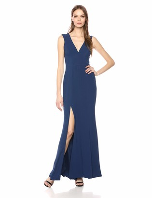 Dress the Population Women's Sandra Plunging Thick Strap Solid Gown Dress