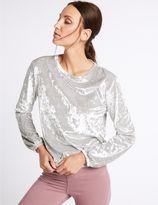 Marks and Spencer Crushed Velvet Long Sleeve Sweatshirt