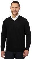 J By Jasper Conran Big And Tall Black Merino Wool V Neck Jumper