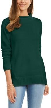 Karen Scott Rolled Mock-Neck Cotton Sweater, Created For Macy's