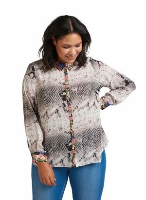 Zizzi Women's Langarm Hemd Snakemuster Long Sleeve Top