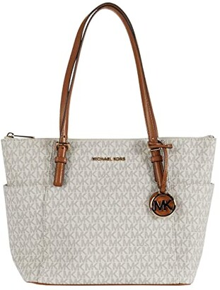 MICHAEL Michael Kors Jet Set Item East/West Top Zip Tote (Vanilla/Acorn) Tote Handbags