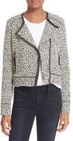 Joie Pattyn Leather Trim Leopard Jacquard Jacket