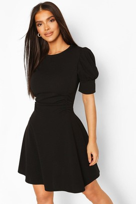 boohoo Puff Sleeve Ruched Waist Skater Dress