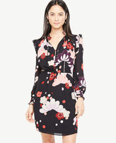 Ann Taylor Petite Blooms Ruffle Shirtdress
