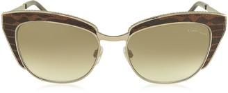 Roberto Cavalli SUALOCIN 973S Gold Metal and Brown Animal Print Acetate Cat Eye Sunglasses
