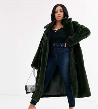 Asos DESIGN Curve faux fur trench coat in khaki