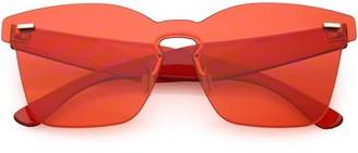 Sunglass.La Oversize Rimless Horn Rimmed Sunglasses Keyhole Nose Bridge Mono Flat Lens 59mm (Red)