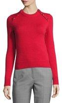 Michael Kors Button-Detail Cashmere Crewneck Sweater