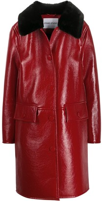 STAND STUDIO boxy fit fur-trimmed coat