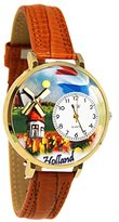 Whimsical Watches Women's G1420007 Unisex Gold Holland Tan Leather And Goldtone Watch