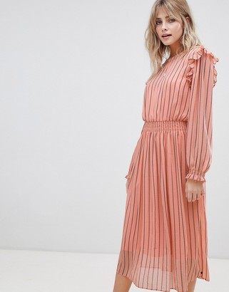 Maison Scotch allover printed dress with elastic in waist-Pink