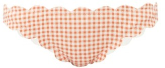 Marysia Swim Antibes Scallop-edged Gingham Bikini Briefs - Orange