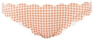 Marysia Swim Antibes Scallop-edged Gingham Bikini Briefs - Womens - Orange