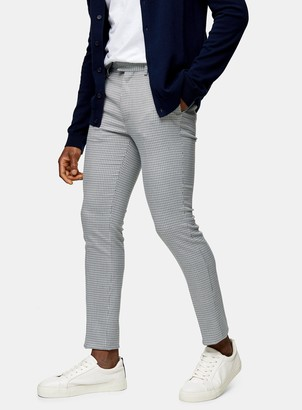 Topman Blue Houndstooth Stretch Skinny Trousers