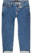 River Island MensMid blue wash Dean straight jeans