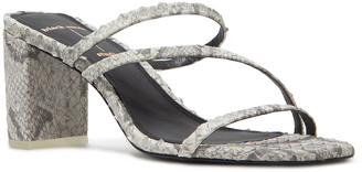 Black Suede Studio Darcy Python-Print Strappy Sandals