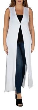 24seven Comfort Apparel Women's Plus Size Cardigan Duster Vest