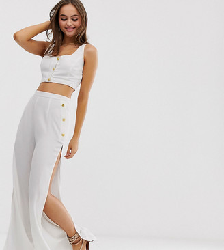 Glamorous Exclusive button crop & beach pants two-piece in white